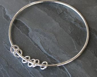 Silver Circles Sterling Silver Bangle, Eternity Circles, Stacking Bracelet, Six Silver Circles, Stackable Bangle