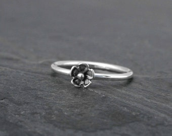 Tiny Flower Sterling Silver Stacking Ring, Regular Ring or Mid Knuckle Midi Ring, Floral Blossom Ring