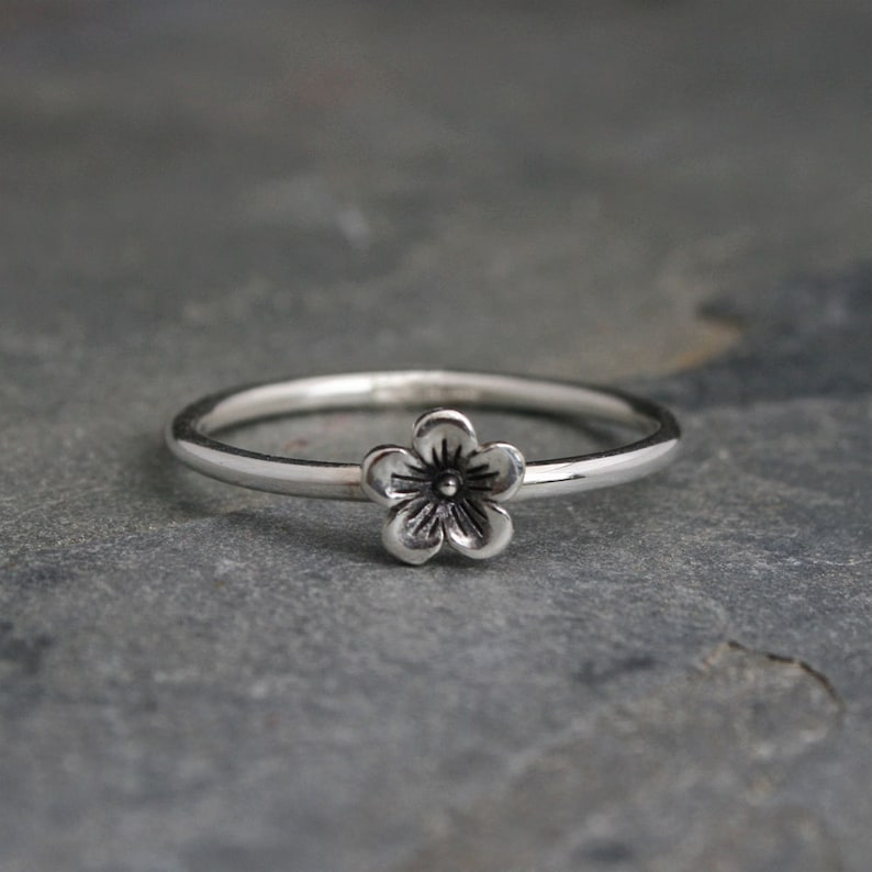 Cherry Blossom Stacking Ring  Sterling Silver Flower image 0