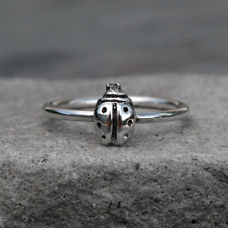 Ladybug Ring  Sterling Silver Stacking Ring  Lucky Lady Bug image 0