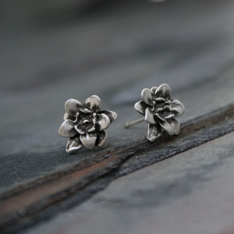 Flower Stud Earrings  Sterling Silver Floral Botanical  Post image 0