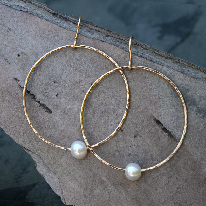 14k Gold Fill Pearl Hoop Earrings  White Freshwater Pearls  image 0