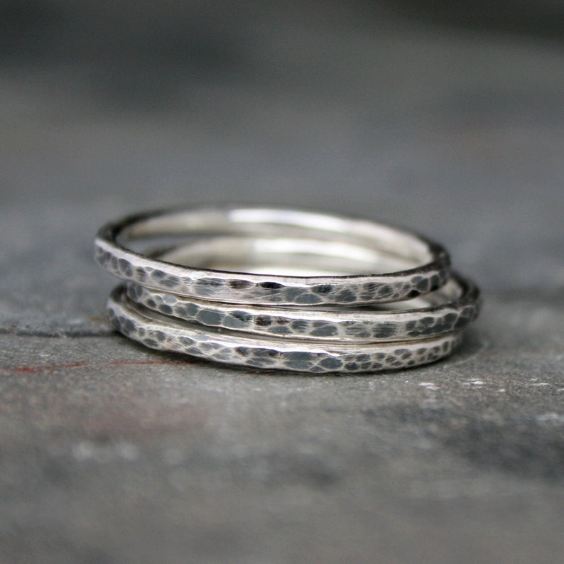 Rustic Sterling Silver Stacking Rings Set of Three 3 Hammered image 0