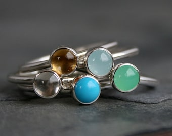 5mm Birthstone Stackable Ring, Sterling Silver Gemstone Stacking Rings, Cabochon Custom Personalized Gift, Create Your Own Set, Singles