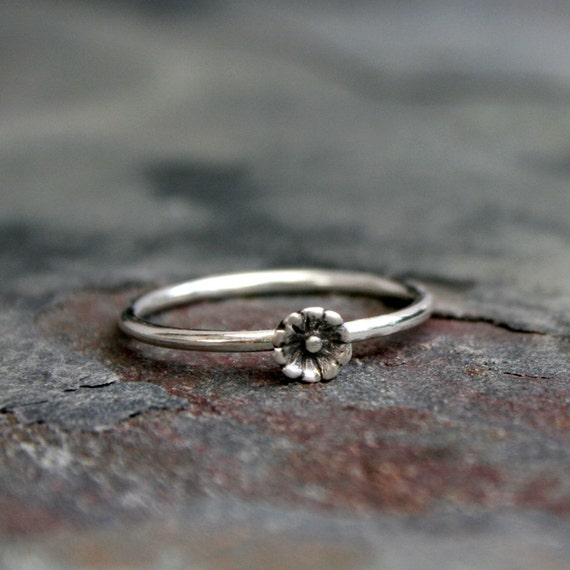 Sterling Silver Stackable Tiny Flower Ring  Dainty Stacking Jewelry for under 30  Stocking Stuffer Ring  Stocking Stuffer Jewelry