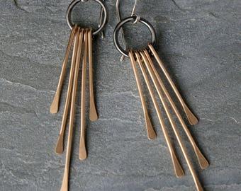 Gold Fringe Deco Earrings Sterling Silver 14k Gold Filled Mixed Metals Long Dangle Statement 14 Karat Goldfill or Brass Rain Hammered Tassel