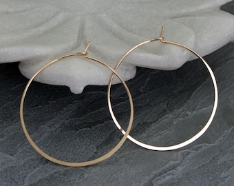 """14k Gold Fill Medium Hoops, 1.5"""" Handmade Round Gold Filled Classic Circle Hoops, 1 1/2 Inches Across, Yellow 14 Karat Gold Filled"""