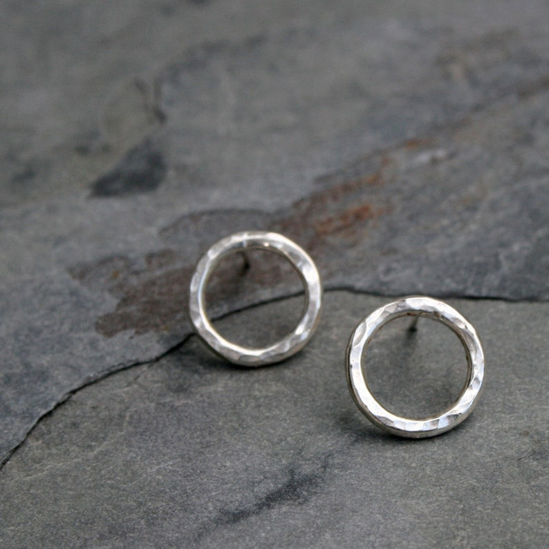 Open Circle Earrings / Sterling Silver Post Earrings Studs / image 0