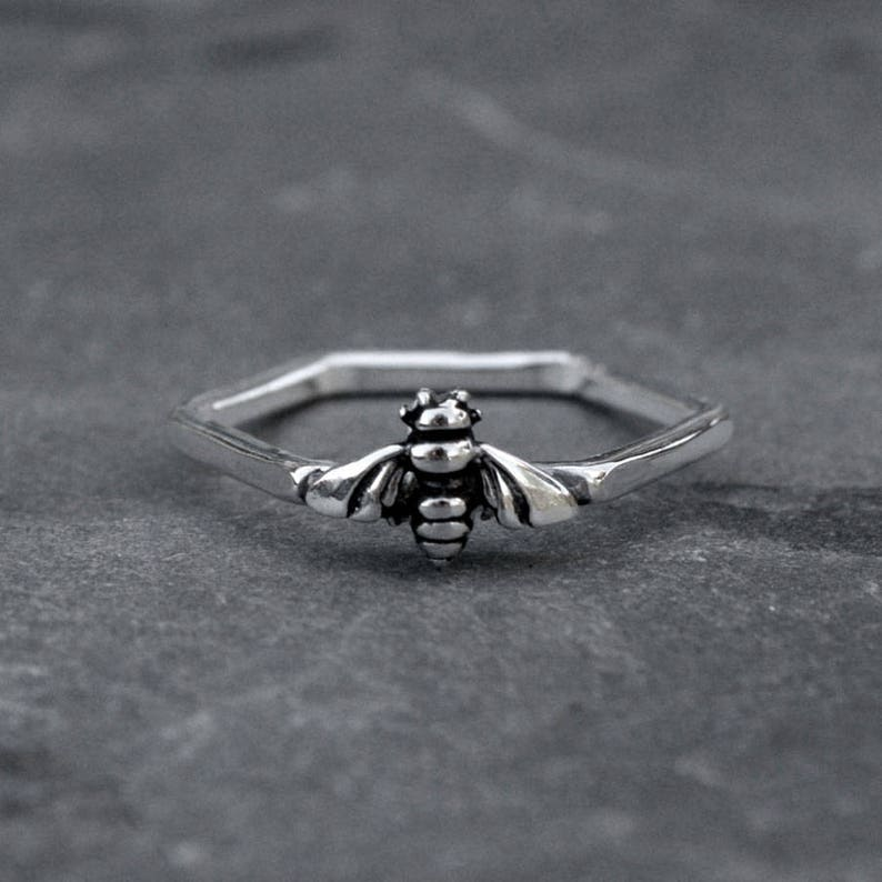 Bee Ring Sterling Silver Hexagon Honey Comb Stacking Ring image 0