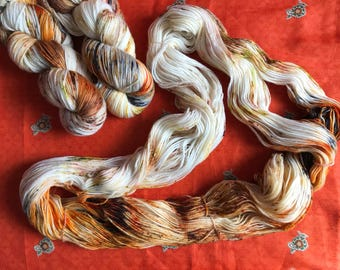 Hand-dyed yarn, Indie dyed yarn, hand dyed yarn PETERPETER PUMPKIN EATER -- dyed to order -- Times Square sock weight merino/nylon yarn