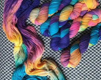 Hand-dyed yarn, Indie dyed yarn, hand dyed yarn JELLYWISH -- dyed to order -- Greenwich Village DK weight superwash merino yarn