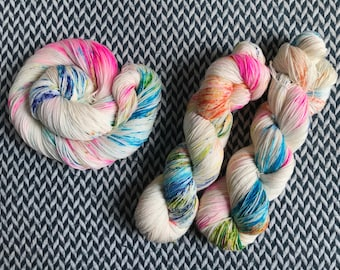 Hand-dyed yarn, Indie dyed yarn, hand dyed yarn PARAKEET KISSES -- dyed to order --  Times Square sock weight merino/nylon yarn