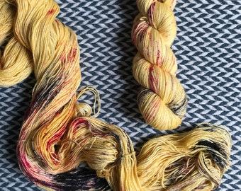 Hand-dyed yarn, Indie dyed yarn, hand dyed yarn I <3 NY YELLOW tshirt -- dyed to order -- Broadway sparkle sock merino/ nylon/ stellina yarn