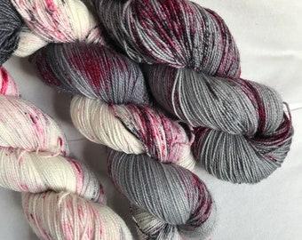 Hand-dyed yarn, Indie dyed yarn, hand dyed yarn I <3 NY RAIN Set --dyed to order -- Broadway sparkle sock merino/ nylon/ stellina yarn