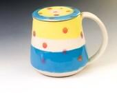 Pottery Mug & Lid with Polka Dots and Stripes, Lidded Mug Handmade, Colorful Mug, Modern Coffee Mug