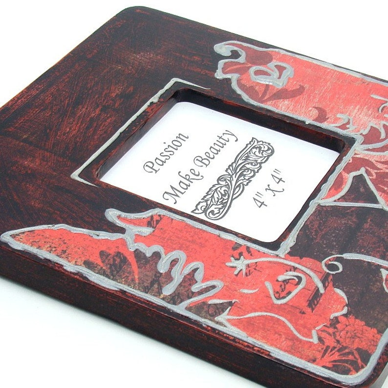 Standing or Hanging Wooden Frame Gift Black Red Silver Structural Paint Romantic Shabby Chic Photo Frame