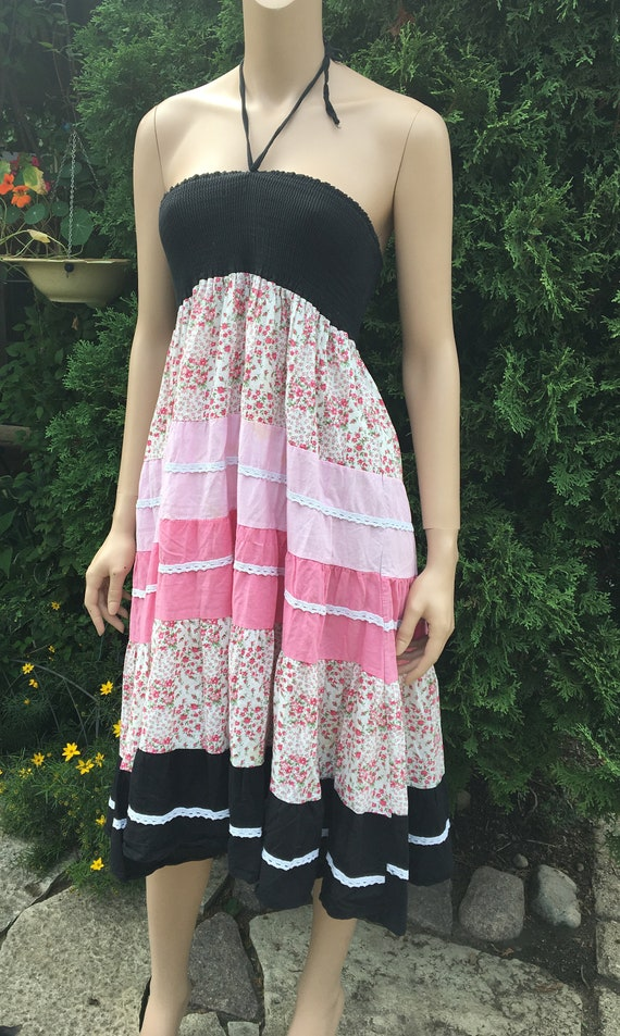 SALE! Pink and black tube top dress / hippie tube