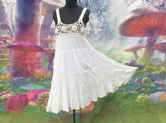 Medium white crochet top hippie dress boho sleevel