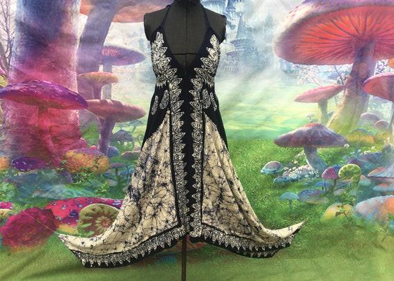 Free size blue white batik halter sun dress India
