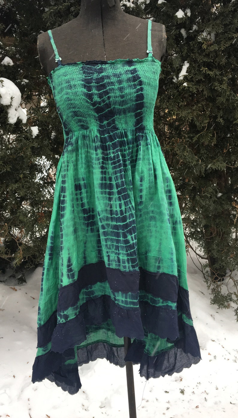Small green and blue tube top tie dye hippie boho short  dress