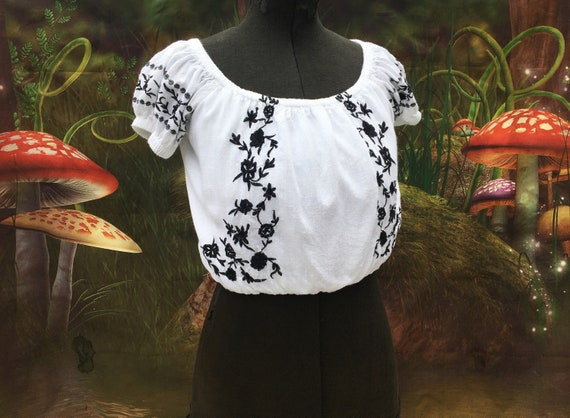 Small white embroidered hippie crop top boho floral crop  3624985