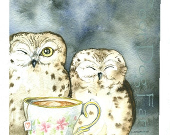Two and Tea - Owl  print 8x10