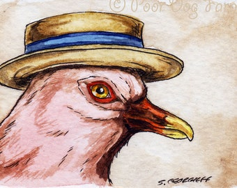 The Reunion Pink Pigeon ~~ No 83 of 100 series- ~ signed watercolor print