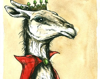 Llama Queen (an original hand painted queen)