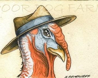 A Dapper Turkey with hat- 5 x 7 print