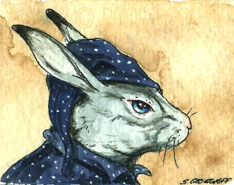Hare in PJs - Original ACEO Painting