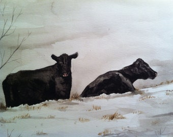 Painting no. 57  Snow Cows--  watercolor print 8 x 10