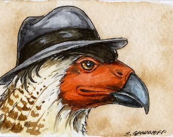 The Guadalupe Caracara ~~ No 19  of 100 series- ~ signed watercolor print
