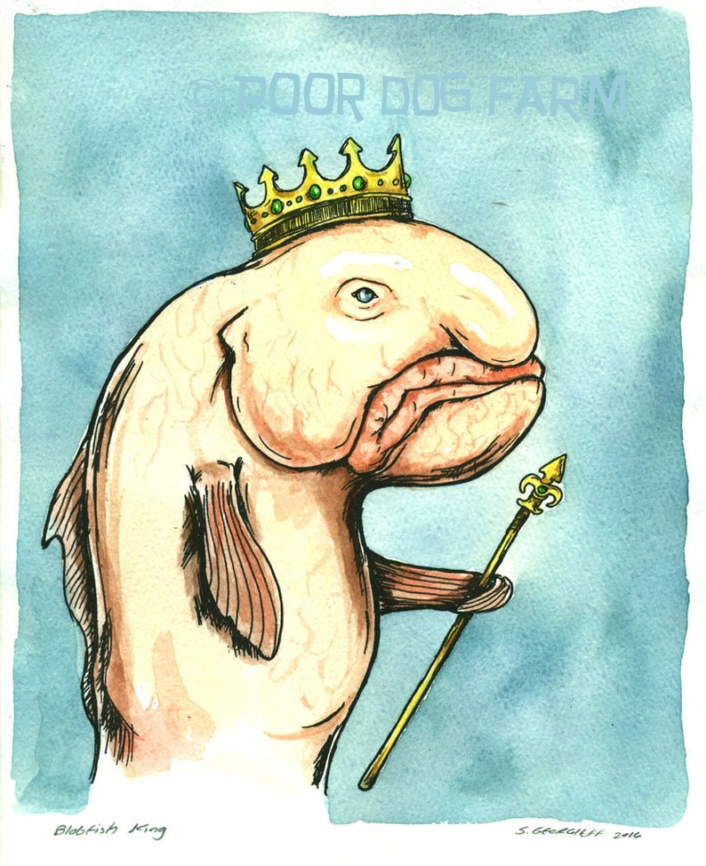 an original hand painted king Blobfish King