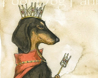 Dachshund Queen (an original hand painted queen)