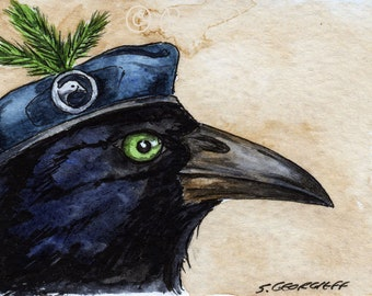 The New Zealand Raven ~~ No 91 of 100 series- ~ signed watercolor print