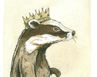 Badger King  5x7 Sepia Print
