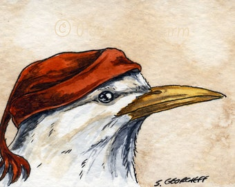 The Rodrigues Starling ~~ No 86 of 100 series- ~ signed watercolor print