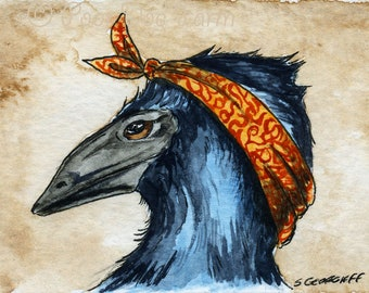 The  King Island Emu ~~ No 82 of 100 series- ~ signed watercolor print