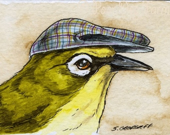 The Marianne White-Eye ~~ No 21  of 100 series- ~ signed watercolor print