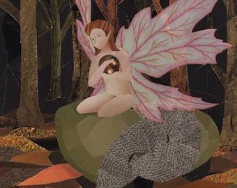 Autumn Fairy art collage 8x10 print