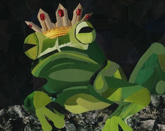 Frog Prince art collage 8 x 10 print