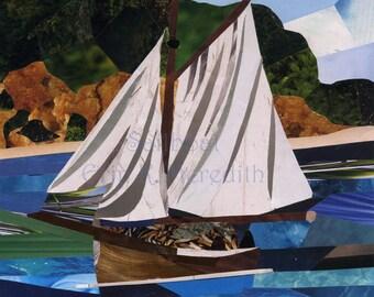 Sailboat art collage 8 x 10 print