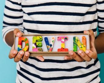 Kids Birthday Gift Crayons - Crayon Name Set - Custom Alphabet Name Crayons in a Gift Box - Crayon Toy - Birthday Gift Kids - Stocking Gift