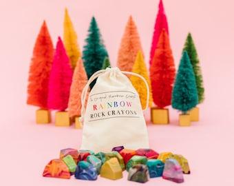 Kids Crayon Christmas Gift - Rainbow Rock Original Rainbow Crayons® - Bag of 15 Mini Rainbow Rock Rainbow Crayons -  Kids Stocking Stuffer