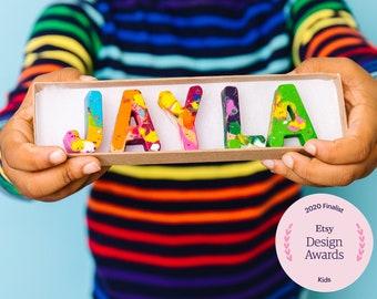 Kids BIRTHDAY Crayons - Crayon Name Set - Custom Name Crayons in a Gift Box -Birthday Gift Kids- Personalized Stocking Stuffer Gift for Kids