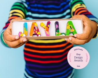 Kids Christmas Gift Crayons - Crayon Name Set - Custom Alphabet Name Crayons in a Gift Box - Crayon Toy - Kids Gift Birthday -Party Favors