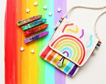 Kids Crayon Gift - Rainbow Crayon Holder -Original Rainbow Crayon® Tote - Travel Art Kit for Kids - Free shipping Kids Gift - Activity Bag