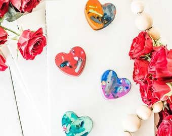Valentine Heart Favors for Class Valentines BULK Set -Kids VALENTINE'S Day Mini Heart Crayons -Valentines Day Class Favors-Class Valentines