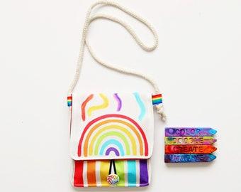 Rainbow Crayon Holder -Original Rainbow Crayon® Tote - Travel Art Kit for Kids - Free shipping Kids Gift - Coloring Activity Tote