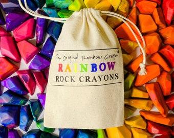 Kids Crayon Birthday Day Gift - Rainbow Rock Original Rainbow Crayons® - Bag of 15 Mini Rainbow Rock Rainbow Crayons -  Kids Birthday Gift